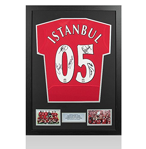 Framed-Gerrard-Carragher-Alonso-Smicer-Dudek-Signed-Liverpool-Shirt-Istanbul-2005-Champions-League-Final