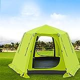 JIE KE Wasserdichte Zelte der Kuppel, bewegliches Campingzelt, im Freien Doppelschicht-super hohes Zelt 3-4 Leute sechseckiges automatisches Zelt, Strand-Zelt im Freien Freizeitzelt