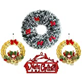TIED RIBBONS Set Of 2 Golden Wreath,1 Merry Christmas,1 Christmas White & Green Wreath For Christmas Decorations, Wall Hanging