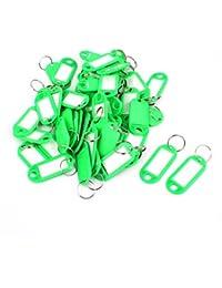 Sourcingmap Plástico Equipaje Carnet de Identidad Etiqueta De Nombre Etiqueta Broche Llavero - Verde (Paquete de 50)