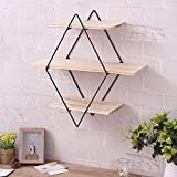 KINGSO Rhombus Floating Shelves Wall Mounted Wood Bookshelf Wall Storage Industrial Shop Display Shelf