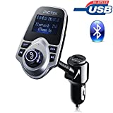 [Upgraded Version] FM Transmitter, Pictek Bluetooth MP3 Player USB Car Charger Hands-Free Calling Wireless Radio Car Kit with 3.5mm Audio Port, TF Card Slot, 1.44 Inches Screen For iPhone HUAWEI ect.