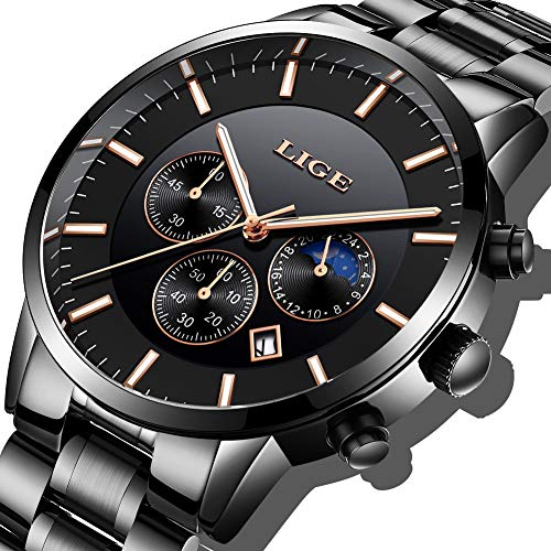 Herren Schwarz Uhren Männer Militär Wasserdicht Chronographean Analog Quarzuhr Datum Kalender Edelstahl Armbanduhr