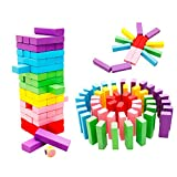 yibenwanligod 48 Stücke Regenbogen Farbe Holzbausteine Kinder Montage Lernspielzeug - Multicolor