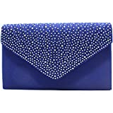 Tavie Femmes Sac à Bandoulière En Satin Glitter Diamante Enveloppe Bourse Sacs Soirée De Bal Fête Pour Femme Dame Fille, Bleu
