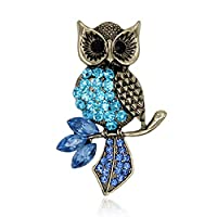 Cosanter Brooches Pins Noble Hollow Rhinestone Owl Designed Brooch Pin for Wedding Prom Slight Blue