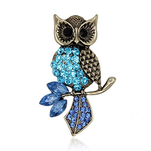 Nikgic Blue Owl Brosche Mode Retro Elegante Edelstein Brosche Damen Accessoires Tägliche Accessoires Frauen Geschenke