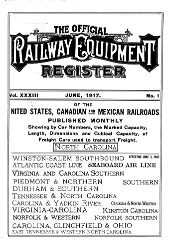 Railway Equipment Register 1917: North Carolina (English Edition)