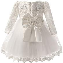 Manga Larga de Encaje Vestido de Flores de la Princesa Bowknot Boda Niña Vestido para Princesa
