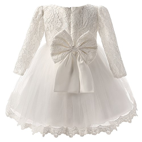 Vestito bambina elegante manica lunga con fiocco pizzi tutu per compleanno partito festa nuziale prom bianca/120cm