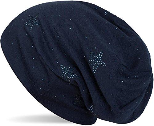 styleBREAKER Beanie Mütze mit Strass Sterne und All Over Strasssteine, Slouch Longbeanie, Damen 04024116, Farbe:Midnight-Blue/Dunkelblau