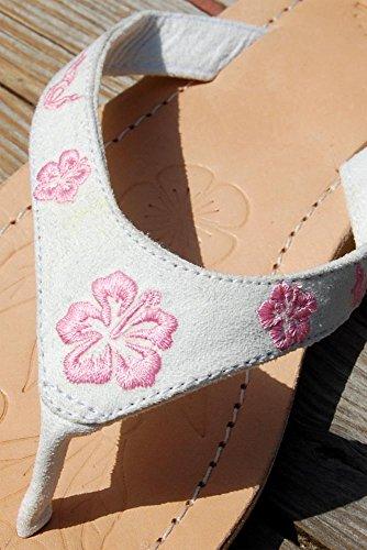 SEESTERN Damen Leder Zehentrenner Zehensandale Zehensteg Sandalen in Größe 36-44 Weiß