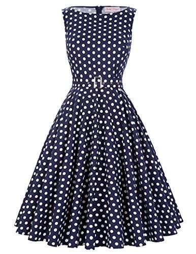 Damen Petticoat Kleider 50er Festliche Kleider Knielang XL BP002-33