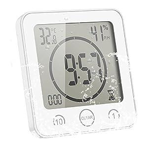 Sunsbell Digitale Baduhr, Wasserdicht Dusche Badezimmer Uhr mit Temperatur Luftfeuchtigkeit LCD-Bildschirm Display Intelligente Touch-Control Wanduhr Timer Küche (Weiß)
