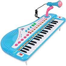 Tastiera Musicale, Vicoki 37 tasti Pianola Elettrica Tastiera Bambini con Microfono Musicale Giocattolo, Blu