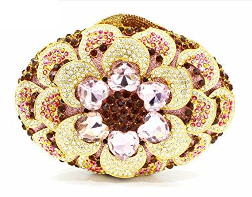 XYXM Dame Clutch Deluxe Rhinestone Flower Dinner Pack High-End benutzerdefinierte handgefertigte Kristall Tasche cheongsam Bankett Pink
