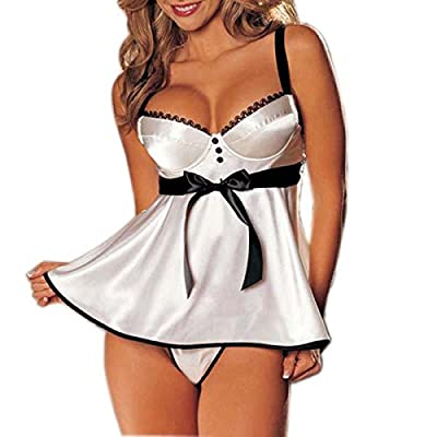 Ava Cami White Set Women's Sexy Lingerie (One Size: Fit 8-12)