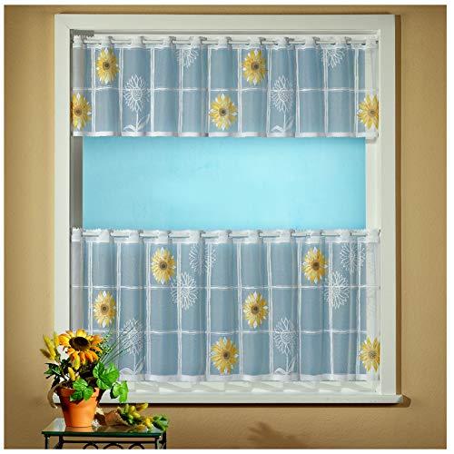 heimtexland ® 2-teilige Scheibengardine Jacquard Sonnenblume coloriert HxB 30/50x150 Gardinen Set weiß gelb Ökotex Typ598 -