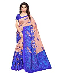 Fabwomen Sarees Floral Print Multicolor And Blue Coloured Cotton Silk Traditional Festive Wear Women's Saree/Sari.