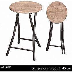 Pliant Pliable Tabouret DE Bar Design Industriel Chaise Decoration Maison Bois Metal