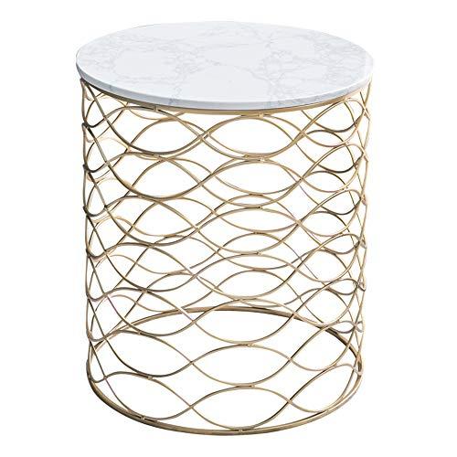 Tables FEI - Bureau d'ordinateur d'appoint en marbre d'appoint pour canapé d'appoint Petite Ronde pour Tous Les postes de Travail (Couleur : Blanc)