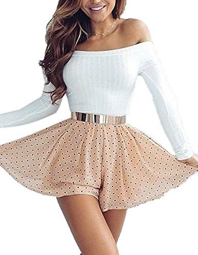 ZEARO Sexy Damen Crop Tops Pullover Pulli Sweater Sweatshirt Langarm Schulterfrei Bluse Oberteile Weiß