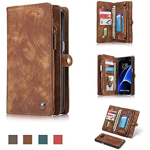 Caseme marchio® Custodia per iPhone 6Custodia a portafoglio multifunzione con portafoglio, in pelle, zip Bottoni magnetici, staccabile, iPhone 6