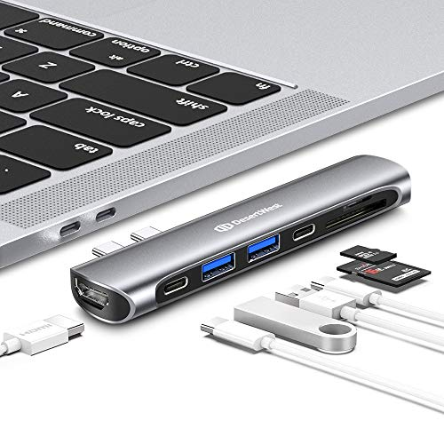 "USB C Hub, USB-C Hub Adapter für MacBook Pro 2018/2017/2016 13""&15"", MacBook Air 2018 13"", 7 in 1 Thunderbolt 3 Hub Adapter mit HDMI 4K, Type C und USB C 3.0 Ports, SD/TF Kartenleser, Spacegrau"