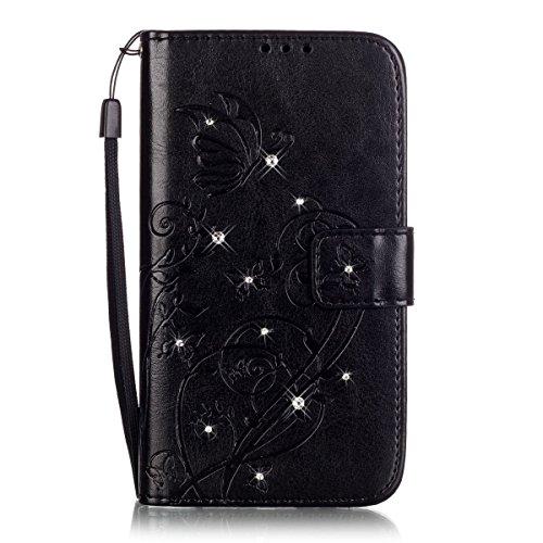 QPOLLY Kompatibel mit Huawei P8 Lite 2017 Hülle Ledertasche Flip Case Bling Glitzer Strass Leder Schutzhülle Brieftasche mit Kartensteckplätze Standfunktion Magnet Bookstyle Handy Tasche Case,Schwarz Bling Strass Case