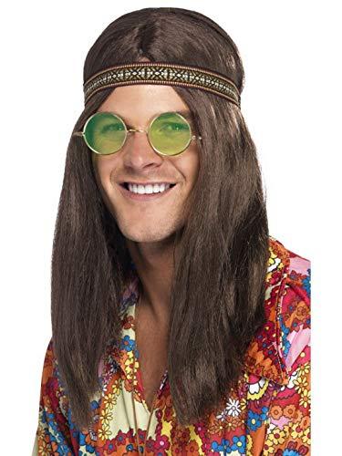 �m Accessoires Zubehör Herren Hippie Set aus Brille Stirnband und Halskette im 60er Jahre Stil, perfekt für Karneval, Fasching und Fastnacht, Braun ()