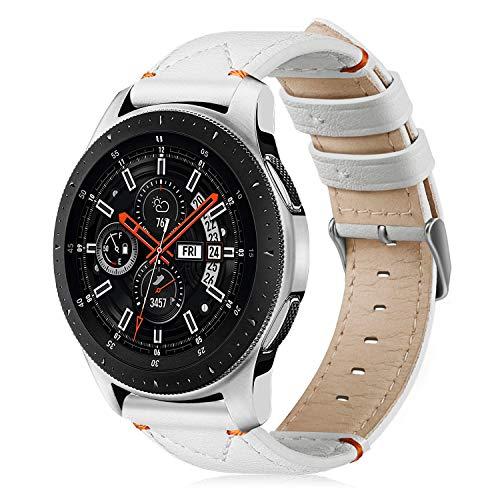 FINTIE Cinturino per Samsung Galaxy Watch 46mm /Gear S3 Frontier/Gear S3 Classic/Huawei Watch GT - Morbido Cinturini di Ricambio in Vera Pelle con Fermaglio Metallico, Bianco