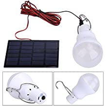 LED Lámpara Solar Bombilla de Demiawaking Voltage 0.8W/5V con Batería 750ma / 3.7v Iluminación Exterior con Panel Solar Bombilla de Bajo Consumo para Acampar Lámpara Portátil de Energía Solar al Aire Libre Campamento Lámpara de Pesca
