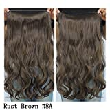 Secret Halo Hair Extensions Flip in Curly Wavy Hair Extension Synthetic Women Hairpieces 20 (Rust Brown #8A) by SY