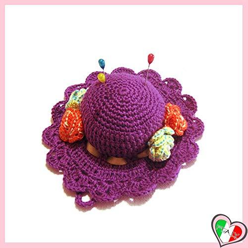Lila Orange und Gelb häkeln Hut Nadelkissen aus Baumwolle - Größe: ø 11.5 cm - Handmade - ITALY