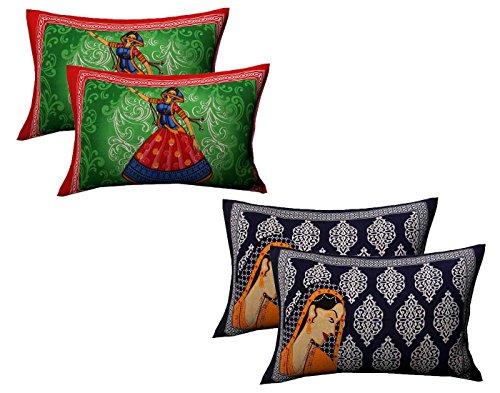AJ Home Cotton Multicolor Pillow Covers 2 Sets (4 Pieces)-18