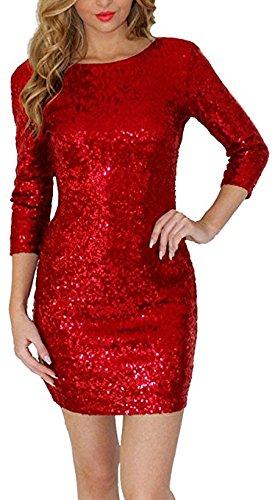 BAINASIQI Damen Sexy Paillettenkleid Minikleid Kurz Cocktailkleid Partykleid Abendkleid mit Rückenfrei V-Ausschnitt Design (Rot, XL) - 2