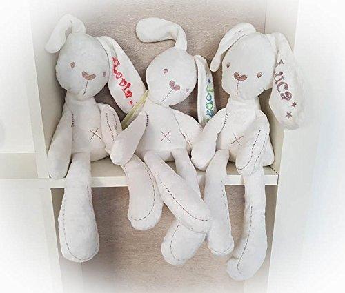Stofftier Hase - mit NAMEN - Kuscheltier Baby Kinder Geschenk personalisiert mit Wunschnamen - Taufe, Geburt (Rosa, Pink, Sterne)