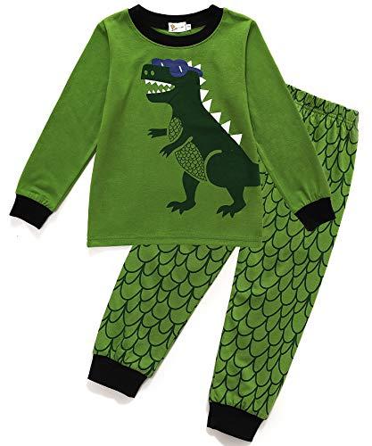 Little Sorrel Jungen Schlafanzug Mond Stern Baumwolle Overall Marineblau Langarm Kurzarm Nachtwäsche für Kinder Größe 92-110 (98, Dinosaurier) -