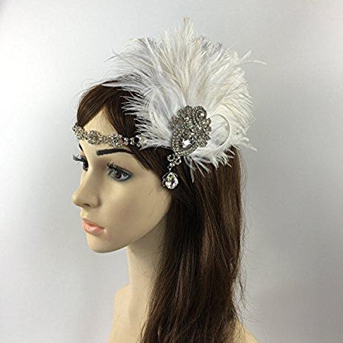 OULII Diadema de plumas de novia tocados boda Vintage pluma Fascinator casco accesorios disfraces fiesta vestir accesorios de la boda, regalo de Navidad
