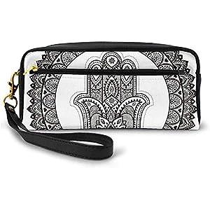 Formas de Anillo con Motivos Florales Cultura étnica Antigua Símbolo Tradicional Monocromo Pequeña Bolsa de Maquillaje Estuche de lápices 20cm * 5.5cm * 8.5cm