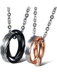"""Kim Johanson Pärchen Halsketten """"Be With You"""" für verliebte aus Edelstahl mit doppelten Ringen und Gravur inkl. Schmuckbeutel"""
