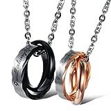 Kim Johanson Pärchen Halsketten *Be With You* für verliebte aus Edelstahl mit doppelten Ringen und Gravur inkl. Schmuckbeutel