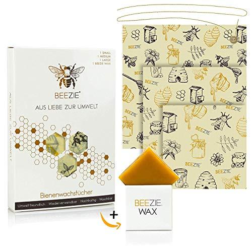 BEEZIE Premium Wachspapier für Lebensmittel, Bienenwachstücher 3er-Set (S, M, L), inkl. Gratis Reparaturwachs, Bio Alternative zum Verpacken von Brot, Käse, Obst und Gemüse (Bio-käse)