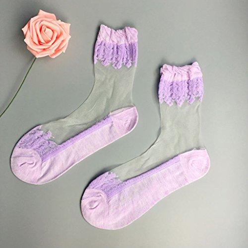 Lamdoo Spitzenstickerei Seidenstrümpfe Transparente Glaskristall Stretch Damen Socken - 3# Lila -