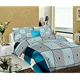 ENGUNIAS 180TC 3D Beautiful Polycotton Double bedsheets with 2 Maching Pillow Covers Size 228x228 cm (Blue2)