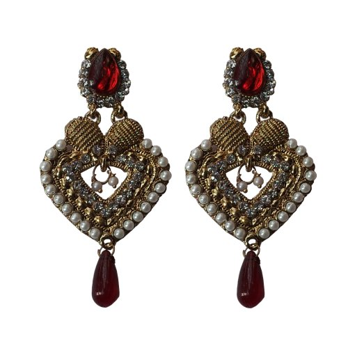 Ramleela Pearl Earrings - Dangle Earring with an Ethnic Look (Red)  available at amazon for Rs.210