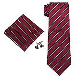 Landisun 18007 rot,Marine blau weiß Streifen Mens Seide Krawatte Set: Krawatte Taschentuch Manschettenknöpfe