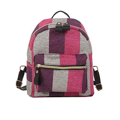 Rucksack Damen Elegant Rucksackhandtaschen Mode Mädchen Schule Student Schultasche Im Freien Reise Backpack Anti Diebstahl Taschen Qmber Segeltuch Einfache Schülertasche aus Segeltuch/Rosa