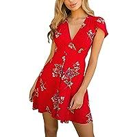 Vestidos Cortos Mujer Verano, Mini Vestido Boho de Flores para Mujer Vestido de Verano de señora de Playa Vestido Largo Boho niña Vestidos de Fiesta