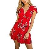 BHYDRY Damen Blumen Boho Minikleid Lady Beach Sommer Sommerkleid Maxikleid(Large,Rot)